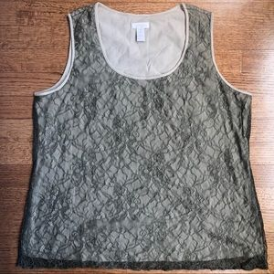 CHICOS GRAY LACE OVERLAY TANK